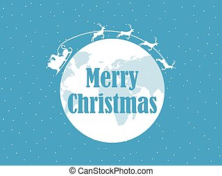 Happy Christmas, Santa Claus is flying in a sleigh with deer around the planet earth. Snow background. Vector illustration