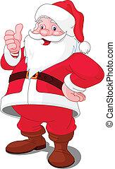Happy Christmas Santa - Christmas Santa Claus with thumb up...
