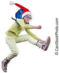 happy Christmas Santa girl or traveler running, jumping and hurrying up