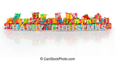 Happy christmas silver text and gifts