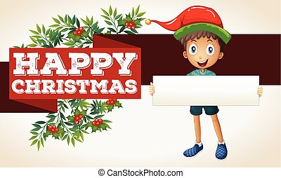 Happy christmas theme with boy and sign