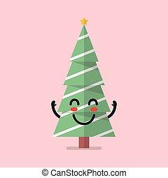 Happy christmas tree character