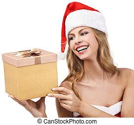 Happy Christmas woman holding gift wearing Santa costume