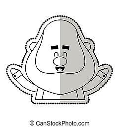 happy chubby man cartoon icon image