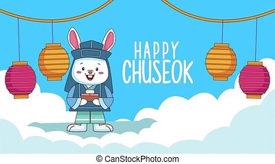 happy chuseok lettering with rabbit and lanterns in clouds ,4k video animated