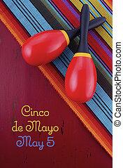 Happy Cinco de Mayo background with maracas