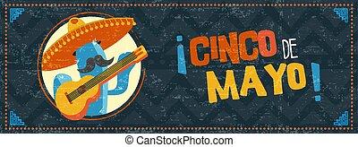 Happy cinco de mayo cactus mariachi web banner