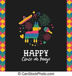 Happy cinco de mayo cute mexican pinata card