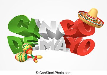 A Cinco De Mayo label sign decal design in green red and white with Mexican sombrero straw sun hat and maracas shakers