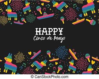 Happy Cinco de mayo mexican pattern greeting card