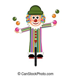 Happy circus clown on a monocycle. Vector illustration...
