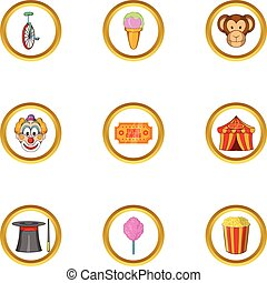 Happy circus icon set, cartoon style