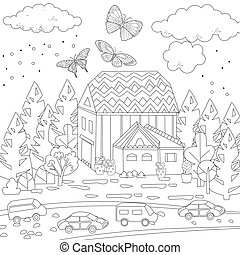 happy cityscape for your coloring book