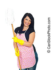 Happy cleaning woman holding mop