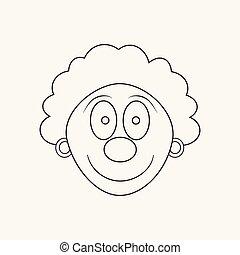 Happy clown face flat black outline design icon