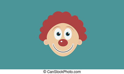 Happy clown face flat design animation icon