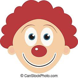 Happy clown face flat design icon