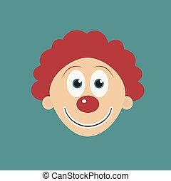 Happy clown face flat long shadow design icon