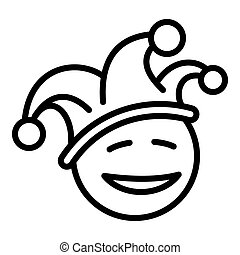 Happy clown face icon, outline style