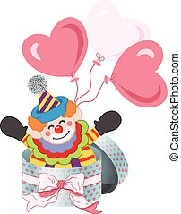 Happy clown in round gift box with bow ribbon and balloons