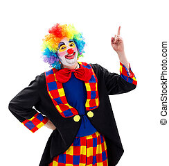 Happy clown pointing upward - Funny clown pointing happily...