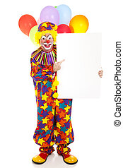 Happy Clown Points to Sign - Happy clown points to blank...