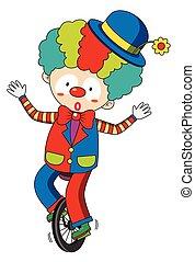 Happy clown riding on wheel