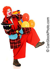 Happy clown - Happy smiling female clown, colorfull dressed,...