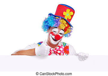 Happy clown with blank