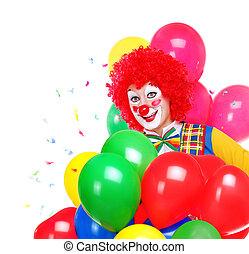 happy clown with colored air balloons