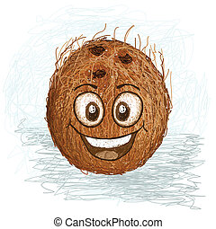happy coconut - happy brown coconut fruit cartoon character...