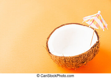 fresh coconut and sun umbrella - Happy coconuts day concept...