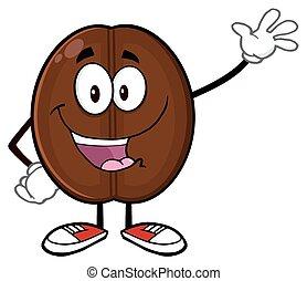 Happy Coffee Bean Character Waving - Happy Coffee Bean...