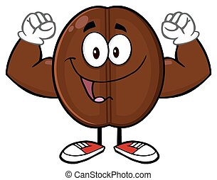 Happy Coffee Bean Cartoon Mascot Character Flexing