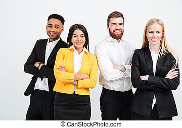 Happy colleagues business team standing in office