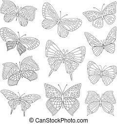 happy collection of funny butterflies for your coloring book