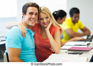 college couple in lecture room