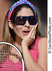 Happy Colombian Female Tennis Player
