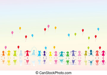 Happy colored children with balloons