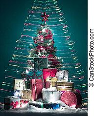 happy colorful christmas tree