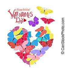 Happy colorful flying butterflies in heart shape for your design