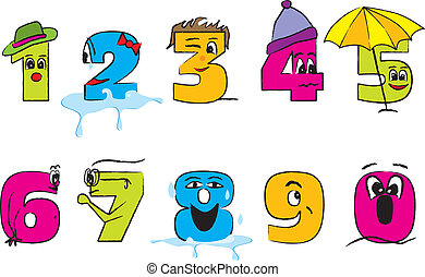 Happy colorful numbers 0-9