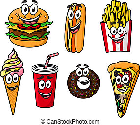 Happy colorful takeaway cartoon food with cute smiling faces including a cheeseburger, hot dog, French fries, ice cream cone, soda, bagel or doughnut and slice of pizza