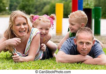 Happy colorfull family
