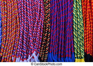 Happy colors of friendship bracelets.