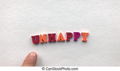 happy. coloured wooden letters on a white sheet of paper
