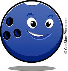 Happy colourful blue cartoon bowling ball