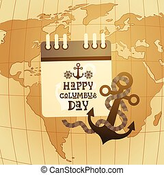 Retro world map brown color retro nautical world map with happy columbus day america discover holiday poster greeting card retro world map gumiabroncs Images