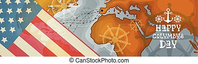 Happy Columbus Day America Discover Holiday Poster Greeting Card Retro World Map Horizontal Banner Flat Vector Illustration