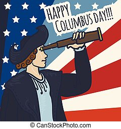 Happy columbus day concept background, hand drawn style